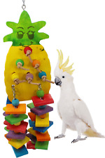 1734 LARGE PINEAPPLE WOOD BIRD TOY parrot cage toys cages African grey amazon
