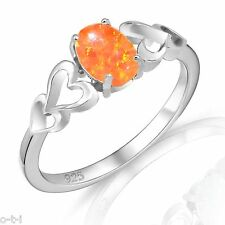 Oval Promise Engagement Mexican Orange Fire Opal Love Four Heart Silver Ring