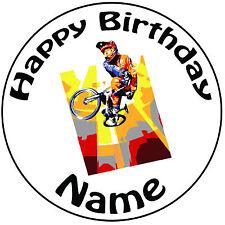 "Personalised Birthday BMX Biker Round 8"" Easy Precut Icing Cake Topper"