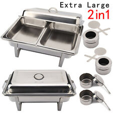 1 x 2 PACK STAINLESS STEEL CHAFING DISH SETS WITH 2 EXTRA FOOD PANS & SPOONS