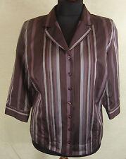Neuw. Elegante BONITA 3/4 Arm Bluse, Hemd Jacke violett braun gestreift Gr. XL