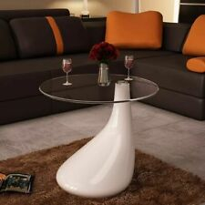 vidaXL Coffee Table with Round Glass Top High Gloss White Telephone Stand