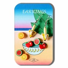 Funky Fimo Fruits Banana Watermelon Earring Set - Joe Cool Story Card