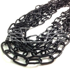 10 METER HANK 7.0 x 28 x 14mm BLACK WELDED CHAIN LINKS HANGING FENCE HEAVY DUTY