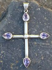 Kreuz Anhänger mit Amethyst Silber 925 Antik