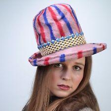 aebf3da361f VTG 60s Red + Blue STRIPE Pink Fedora Cloche MOD Wide Brim Church HAT Derby  NOS