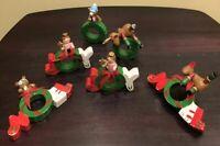 6 Piece Wooden Joy Reindeer Noel Angel Bear Figurine Christmas