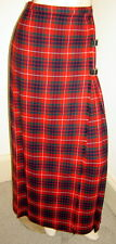 Vintage ASTON Red Plaid 100% Pure Wool Long Pleated Wrap Skirt w/ Buckles (8)