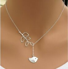 Silver Plated Fashion Women Pendant Necklace Jewelry Bib Statement Chain Bird UK