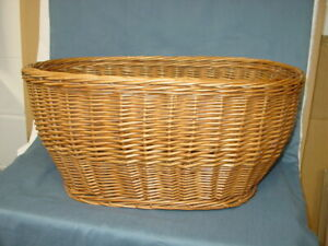 Oval Wicker Basket Vintage Woven Rattan Basket Laundry Storage Organizer