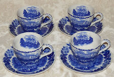 Vintage Blue & White 4 Sets Of Cup & Saucers Made In Japan Castle Pattern