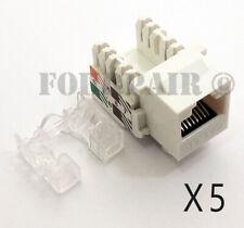 5 Pack Lot - CAT5e RJ45 110 Punch Down Keystone Modular Snap-In Jacks - White
