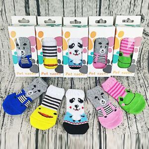 4Pcs Cute Cartoon Warm Puppy Dog Shoes Soft Pet Knits Anti Slip Socks Pet Supply