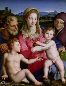 Oil painting The Virgin Mary Madonna with children Christ St. John the baptist A
