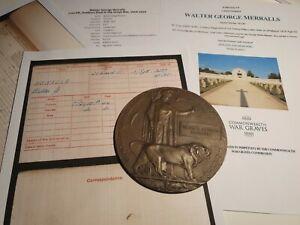WW1 Death Plaque to L/Sgt Merralls, 21st London Reg, KIA, Ulcombe Man