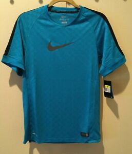 NIKE Graphic Flash Neo Turquoise Blue Soccer Authentic Shirt Jersey NEW Men S XL