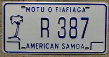 2010 Blue on White American Samoa License Plate with a Palm Tree