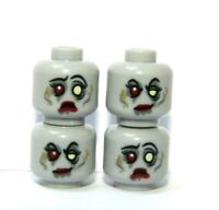 Lego 4 Reversible Heads Head For Minifigure   Zombie Bride Halloween Monster