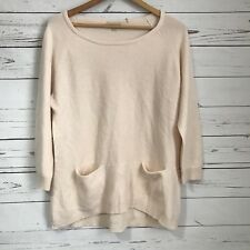 REPEAT BRAND LARGE CASHMERE SILK BLEND SWEATER 42/L FRONT POCKETS