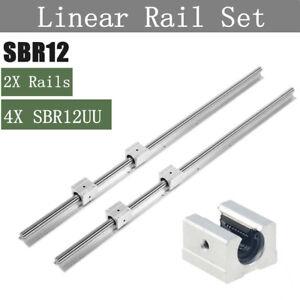 SBR12 300-1500mm Linear Rail Set Slide Guide Rod + 4X SBR12UU Block Bearing CNC