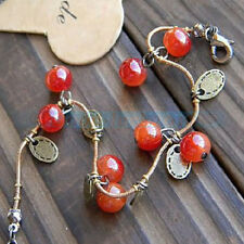 Vintage Glass Red Cherry Beaded Leaf Chain Charm Bangle Bracelets wristband Gift