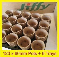 60mm Jiffy Round Pots x 120pcs + 6 x Trays Linings -  Propagation & Seedling HT