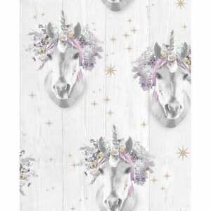 Magical Floral Unicorn Wooden Bark Wallpaper Kids Nursery Girls Bedroom 105977