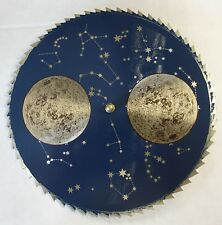New Blue & Pale Gold Grandfather Clock Moon Dial Replacement w/ Post (C-574)