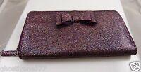 Purple multi color glitter lightweight  bow clutch id credit card wallet