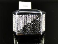 Mens White Gold Finish Black/White Diamond Pinky Fashion Band Ring 1.0 Ct