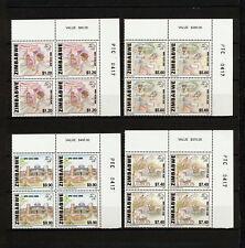 (SBAZ 412) Zimbabwe 1999 MNH BLOCK OF 4 UPU 125th Anniversary