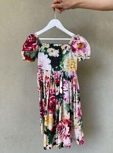 DOLCE & GABBANA Girls Poppy Hydrangea Print Puff Sleeve Dress