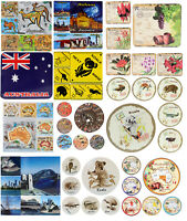 6x Australian Souvenir Drink Round Square Coaster Australia Flag Sydney Gift