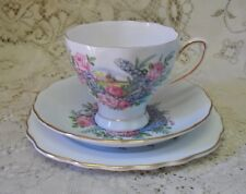 COLCLOUGH PALE BLUE PINK ROSE TRIO CUP SAUCER PLATE MADE IN ENGLAND