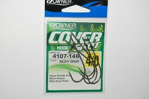 owner cover drop shot finesse hook silky gray 4107-146 siz 4/0 w/ keeper