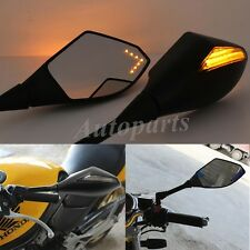 Motorcycle LED Turn Signal Integrated Indicator Light Rearview Mirrors Universal