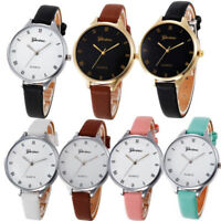 Fashion Womens Girl Stainless Steel Leather Band Quartz Analog Dial Wrist Watch
