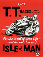 1961 ISLE OF MAN TT RACES MOTOR RACING METAL SIGN RETRO STYLE 12x16in motorcycle