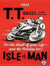 TT Races June 1961, Retro metal wall sign/plaque / man cave / motorbike/ racing