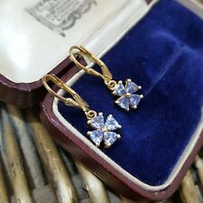 STERLING SILVER EARRINGS, GOLD OVERLAY, AA TANZANITE GEMSTONES, LEVER BACK