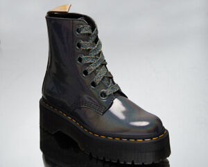 Dr. Martens Vegan Molly Women's Gunmetal Black Glitter Casual Lifestyle Shoes