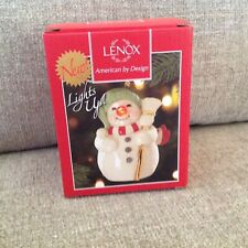 "Lenox ""Blinking All The Way Snowman Ornament"" Nib"
