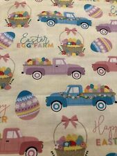 EASTER Baskets Trucks EGGS Easter Fabric By the Half Yard 100% Cotton