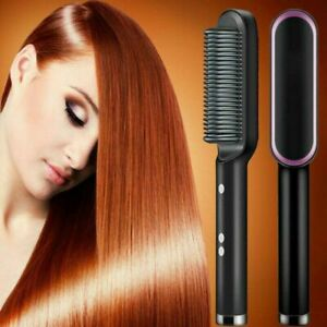 Negative ion Electric Hair Straightener Curler Lazy Hot Comb Flat Artifact Brush