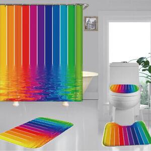 4PCS Set Watermark Rainbow Shower Curtain Toilet Seat Bath Cushion Mat