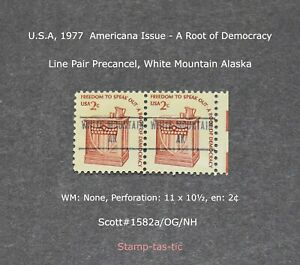 *(1) Line Pair of  White Mountain, Alaska Precancels, #1582a, Original Gum*