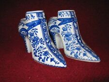 Collectible Miniature Pair of Shoes Delft-Type Pattern