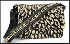 NWT Vera Bradley VB Cole Mini Shoulder Bag in Glossy Leopard with Leather Trim