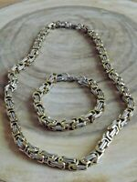 Stainless Steel 8 mm Byzantine Box Chain Necklace Bracelet Set Gold & Silver