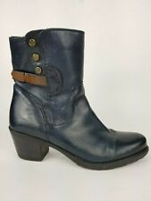 Clarks Blue Leather Ankle Boots Zip Block Heel Studded Casual Women's Shoe 7.5 M
